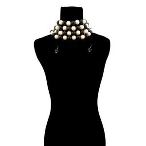 Jewelry - Gold with Chunky Black and Cream choker